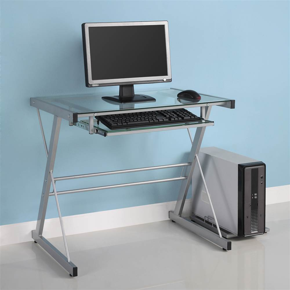 Solo Computer Desk w Glass Top and Silver-Finish Frame