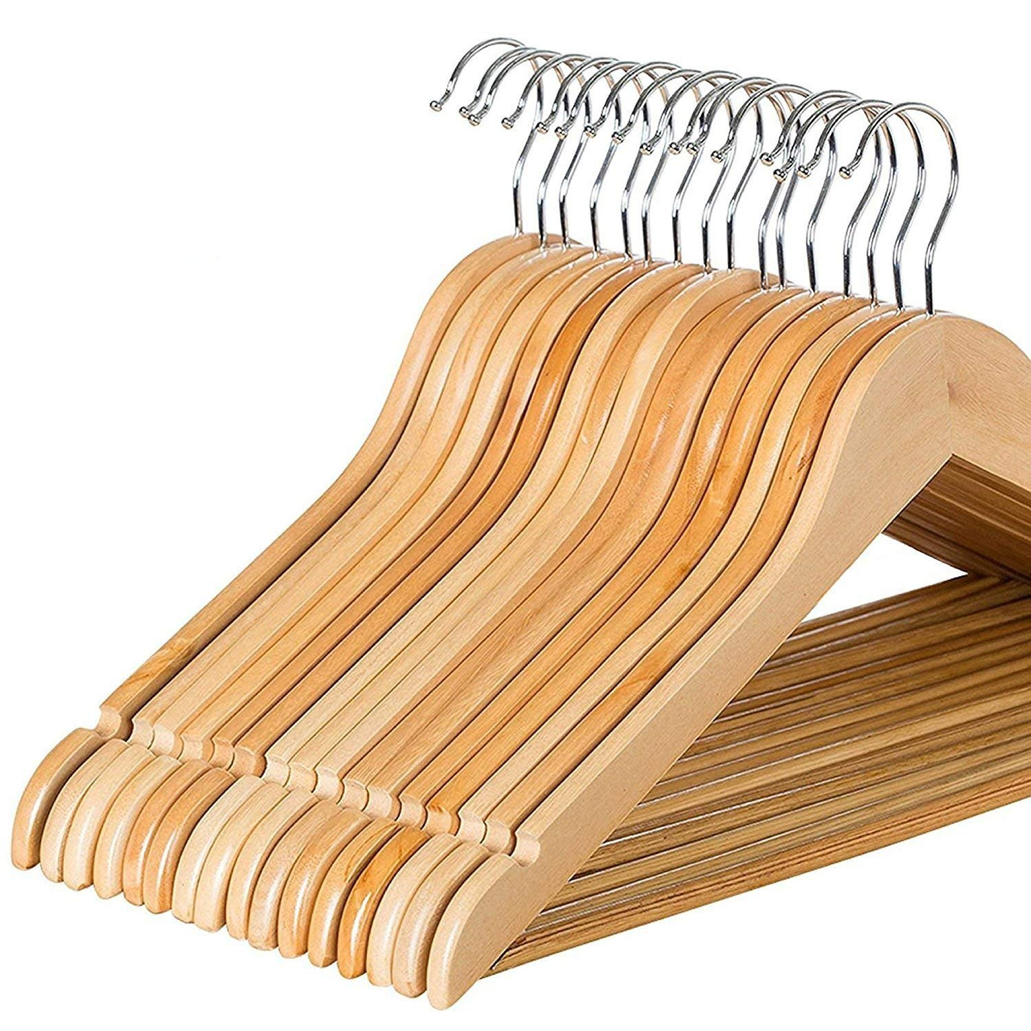 Zober Solid Wood Suit Hangers 17 1/2 x 1/2 x 9 Inches Non Slip Bar and Precisely Cut Notches with 360 Degree Swivel Hook Set of 20 Natural Wood