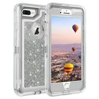 Apple IPhone 8 Plus / IPhone 7 Plus Tough Defender Sparkling Liquid Glitter Heart Case With Transparent Holster Clip