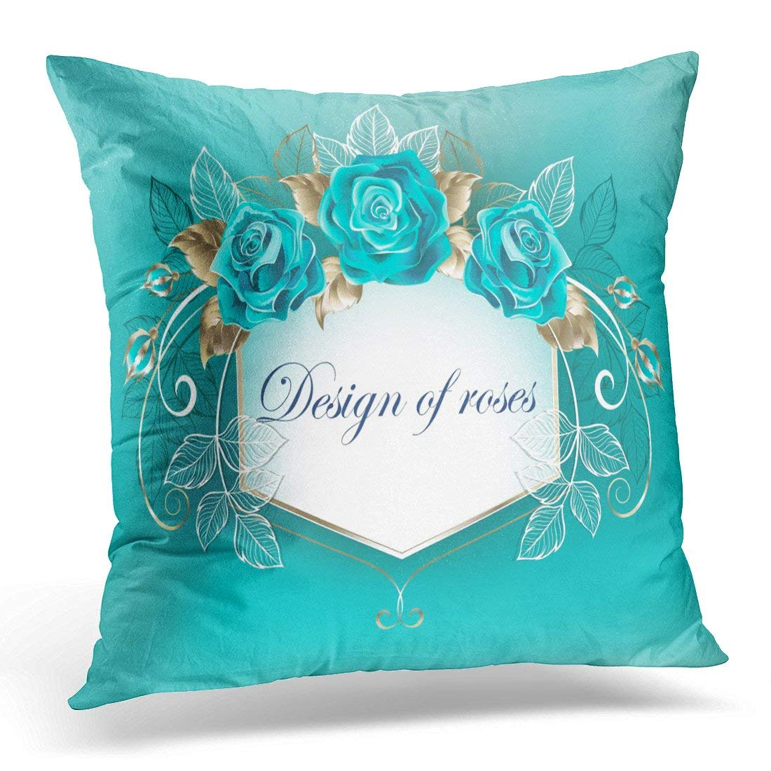USART Blue Best White Decorated with Turquoise Roses with Leaves of Gold on Bloom Pillow Case Pillow Cover 20x20 inch