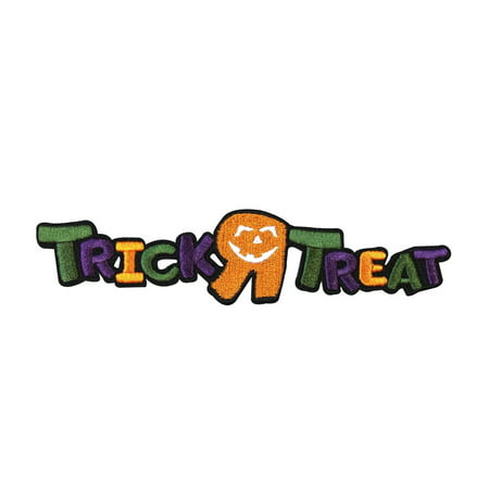 Kids Trick R Treat Patch Halloween Holiday Decoration Craft Iron-On Applique