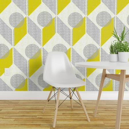 Wallpaper Roll And Yellow 60S Retro Mod Geometric Chevron Ting 24in x