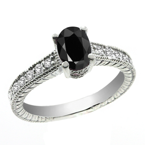 1.29 Ct Oval Black and White Sapphire 14K White Gold Ring