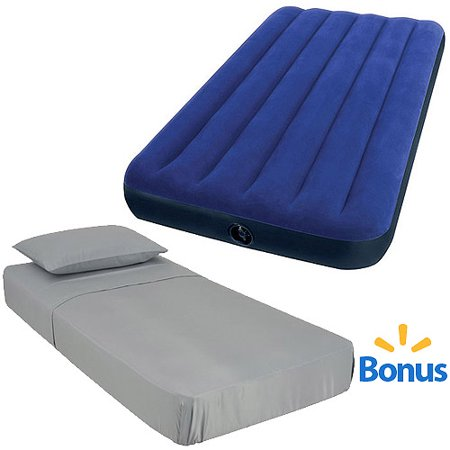 Your Choice of Intext Twin Airbed Mattress with Bonus Sheet Set Your Choice of Intext Twin Airbed Mattress with Bonus Sheet Set includes:Bonus Ozark Trail Twin Microfiber 3 pc. Sheet SetYour Choice:Intex Twin Classic Downy Airbed MattressIntex Mossy Oak Twin Pretige Downy Airbed MattressIntex Twin 18  Raised Pillow Rest Airbed MattressIntex Twin Elevated Dura-Beam Airbed Mattress with Built-In Electric PumpIntex Twin Dura-Beam Airbed Mattress with Built-In Electric Pump