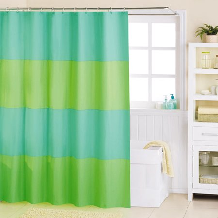 Mainstays Grand Stripe Peva Shower Curtain Blue And Green