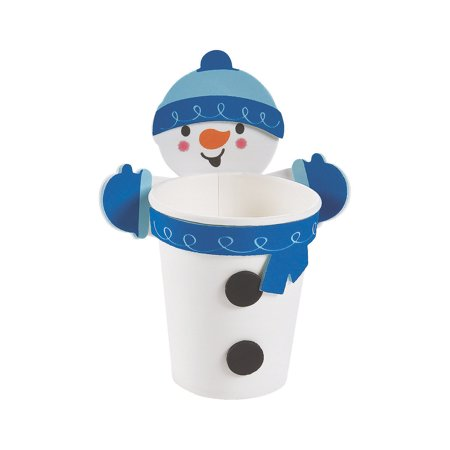 Fun Express - Snowman Treat Cup Hugger CK-12 for Winter - Craft Kits - Home Decor Craft Kits - Containers - Winter - 12 - Fun Halloween Crafts And Treats