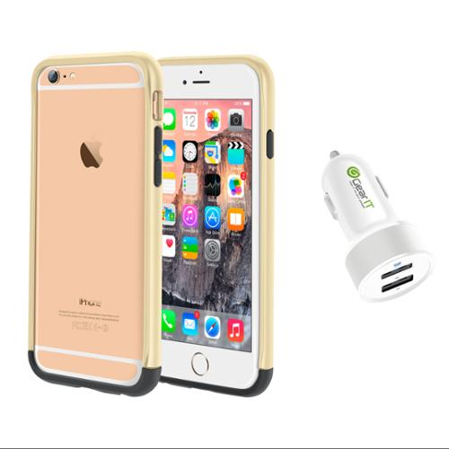 iPhone 6 Case Bundle (Case + Charger), roocase iPhone 6 4.7 Strio Bumper Open Back with Corner Edge Protection Cover with White 4.4A Car Charger for Apple iPhone 6 4.7-inch, Champagne Gold