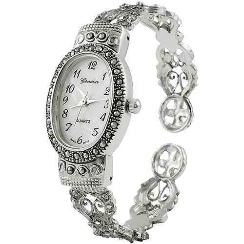 Brinley Co. Women's Marcasite Oval Face Watch