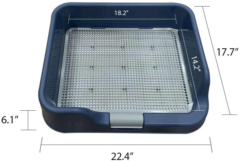 Katigan Indoor Pet Dog Puppy Potty Tray with Pee Post Simulation Wall,No-Torn Puppy Pad Dog Toilet for Male//Boy Puppies and Large Dogs