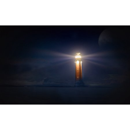 Halloween Photo Montages (LAMINATED POSTER Night Glow Photo Montage Lighthouse Sea Poster Print 24 x)