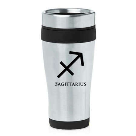 16oz Insulated Stainless Steel Travel Mug Horoscope Zodiac Birth Sign Sagittarius (Black )