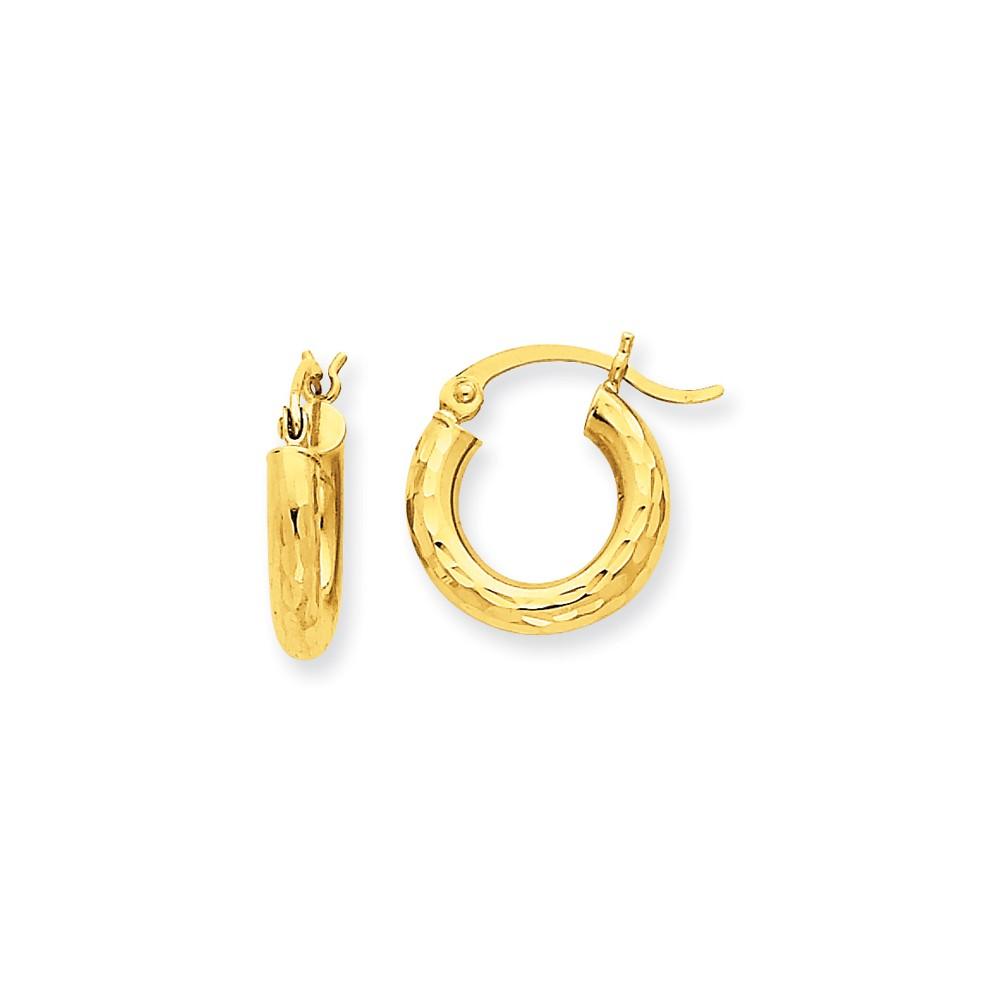 10k Yellow Gold D/C 3mm Round Hoop Earrings (8MM Long x 3MM Wide)