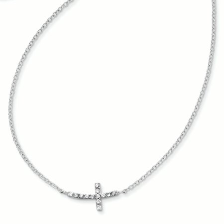 Sterling Silver with CZ Offset Sideways Cross w/ 2 IN EXT Necklace QG3476
