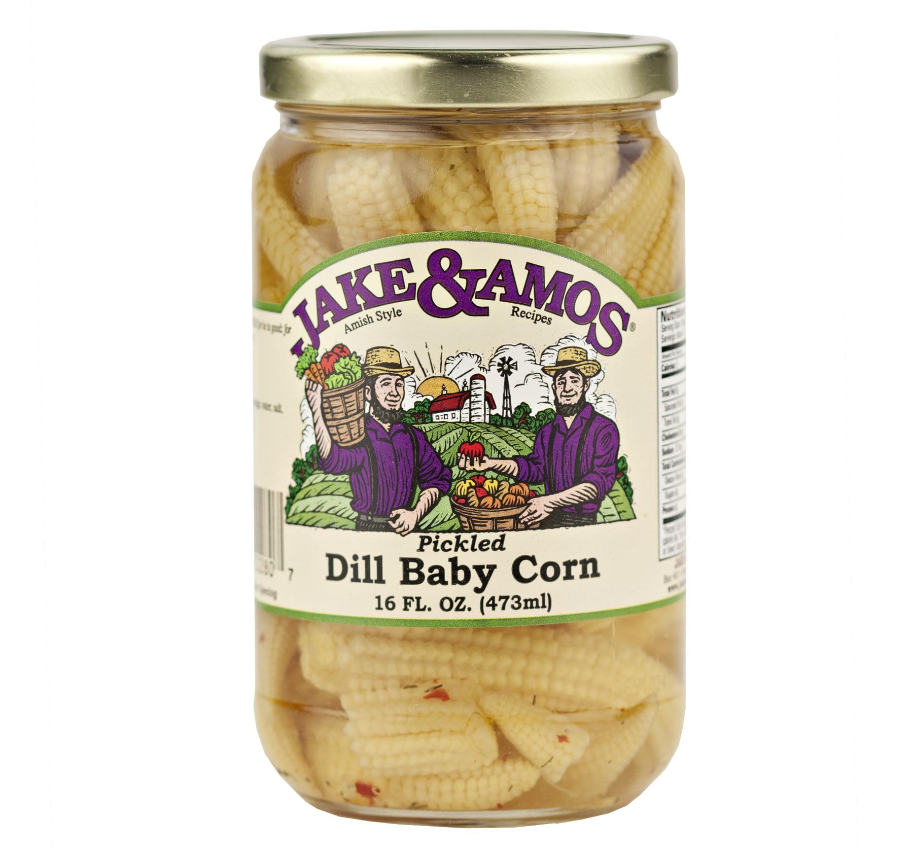 Jake & Amos Pickled Dill Baby Corn 16 oz. (3 Jars)