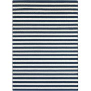 2' x 3' Weathered Stripes Dark Blue and Ivory Area Throw Rug
