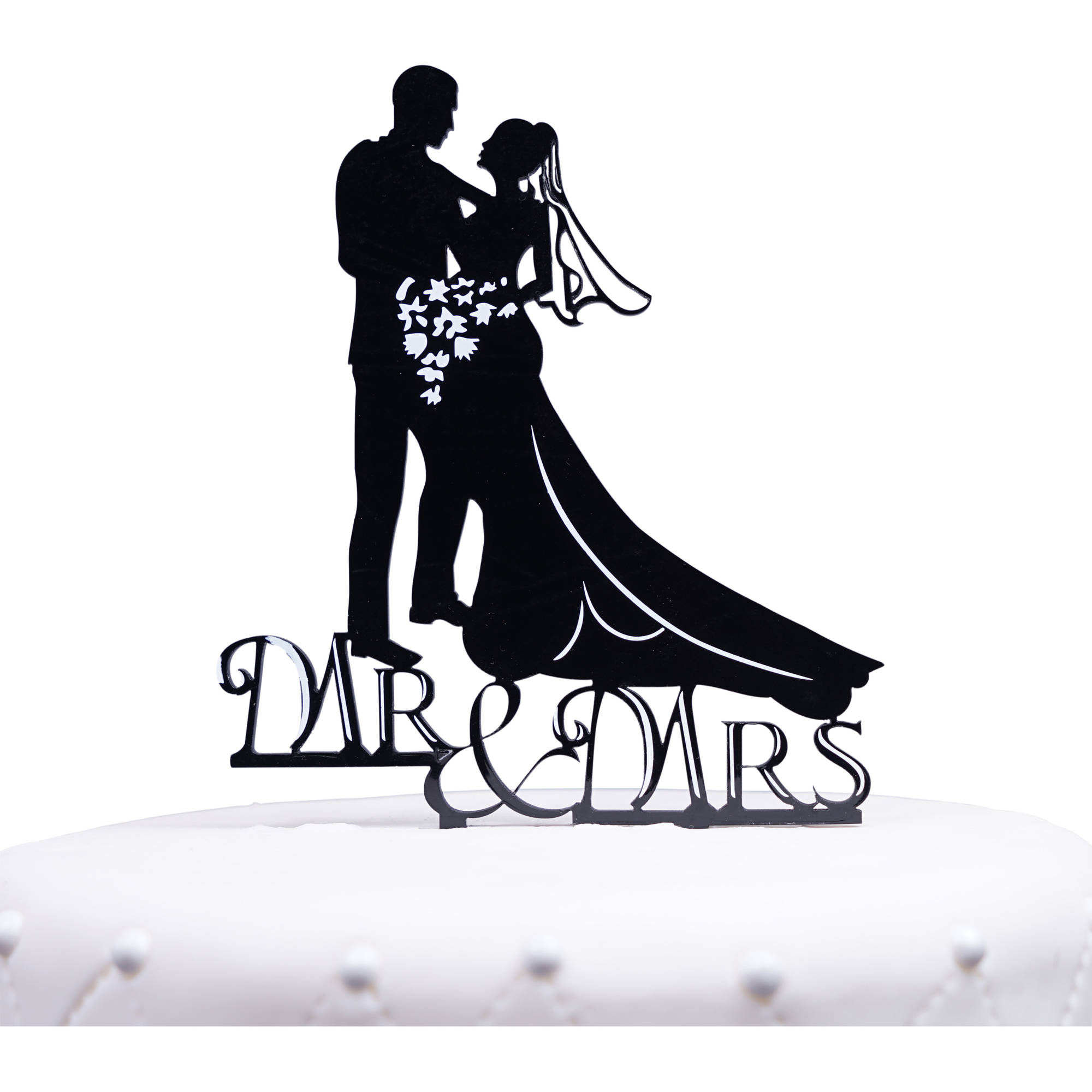 "Unik Occasions Romantic ""Mr. and Mrs."" Bride and Groom Silhouette Acrylic Cake Topper"