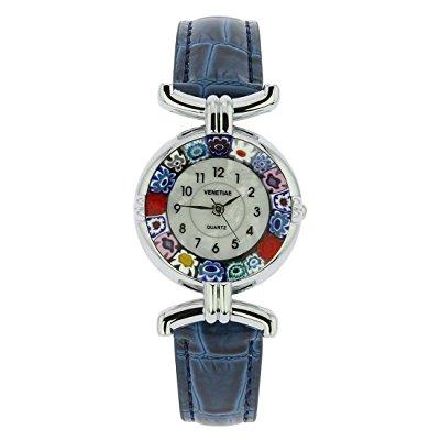 murano glass millefiori watch with leather band - silver ...
