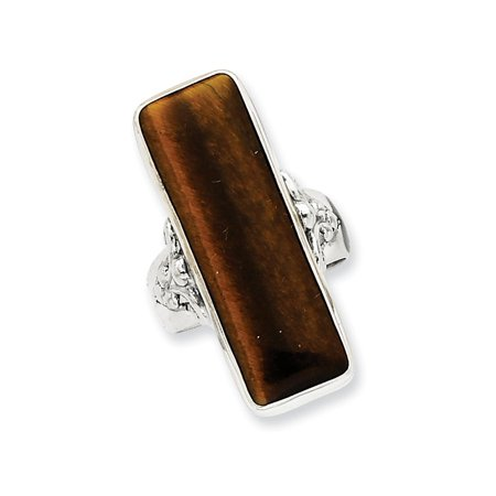 925 Sterling Silver Rectangle Tiger Eye Band Ring Size 9.00 For Women