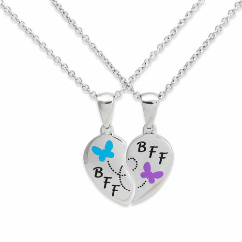 Connections from Hallmark Stainless Steel BFF Butterfly Pendant Set