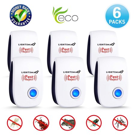 6 PK [2018 NEW UPGRADED] LIGHTSMAX - Ultrasonic Pest Repeller - Electronic Plug -In Pest Control Ultrasonic - Best Repellent for Cockroach Rodents Flies Roaches Ants Mice Spiders Fleas