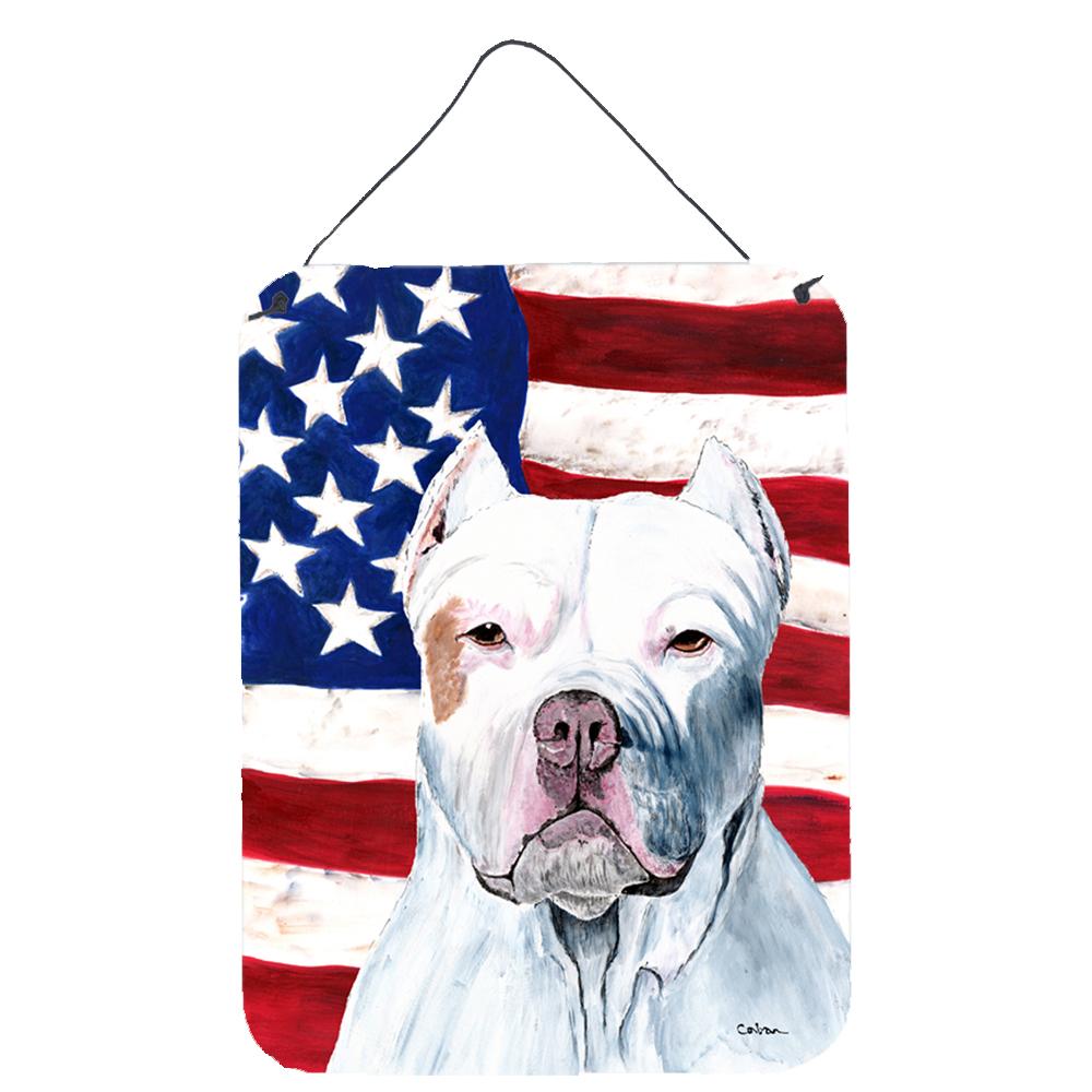USA American Flag with Pit Bull Aluminium Metal Wall or Door Hanging Prints