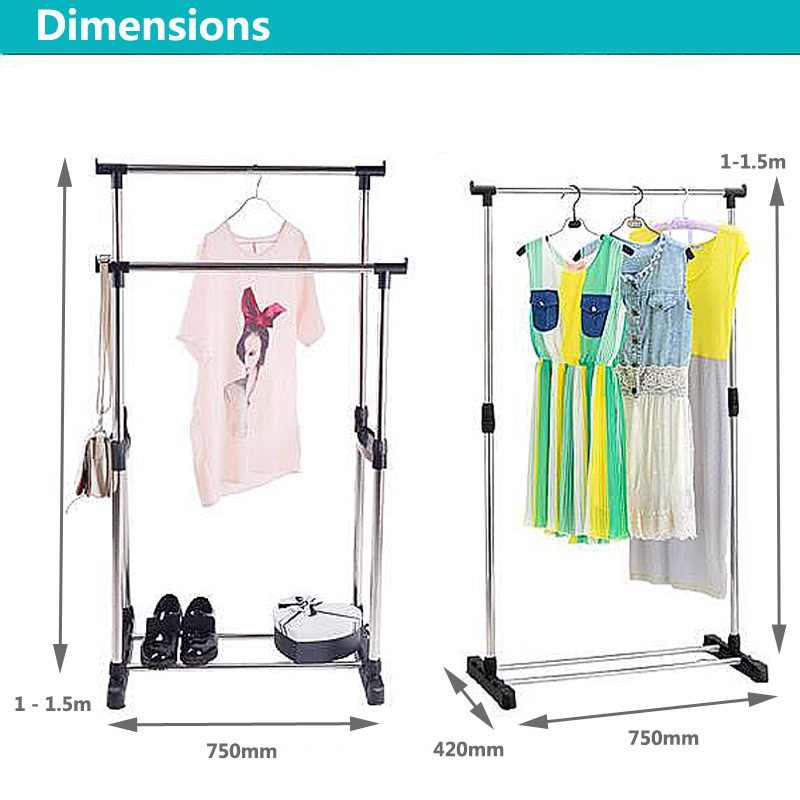 Adjustable Double/Single Clothes Coat Garment Dryer Rack Rail Hanging Hanger