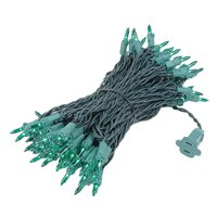 Novelty Lights 100 Light Christmas Mini Light Set, Green Wire, 50' Long