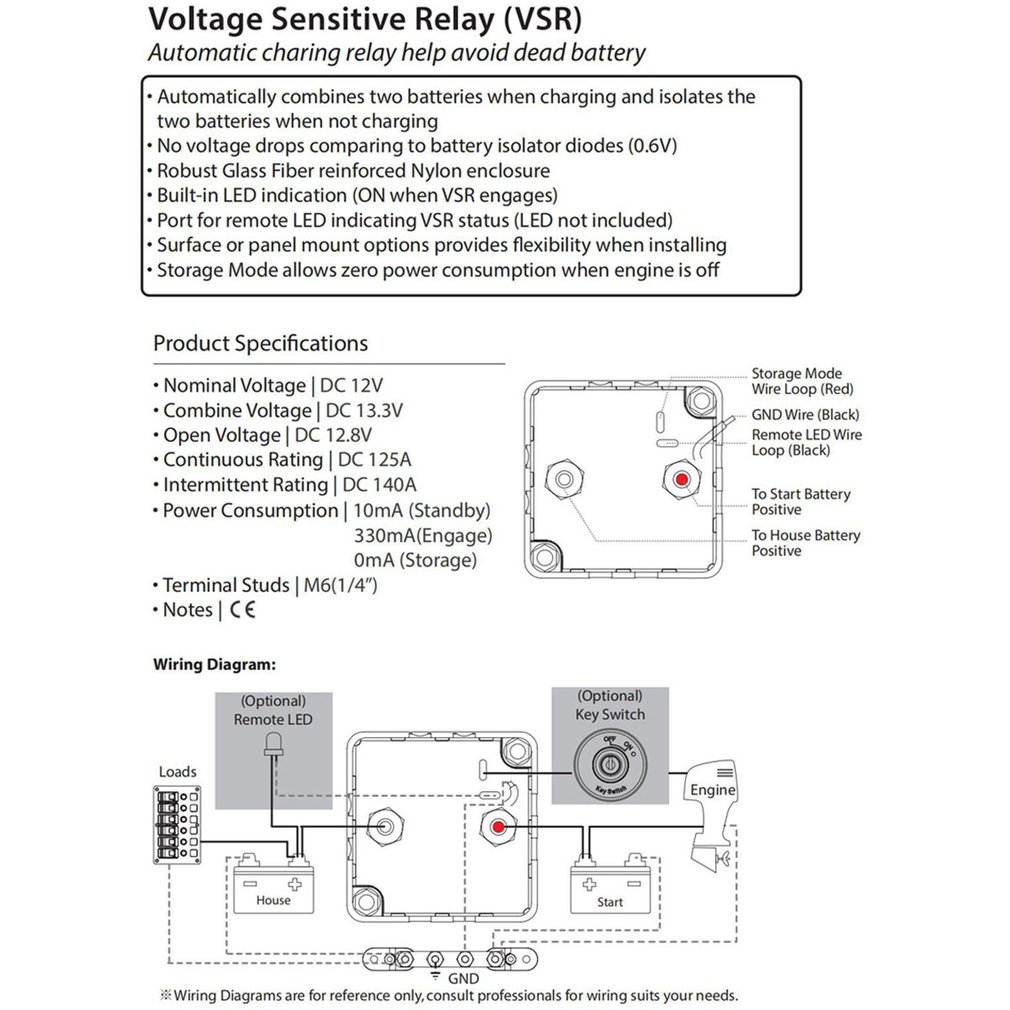 Voltage Sensitive Relay Vsr Automatic Charging Relay 125a Battery Isolator Walmart Canada