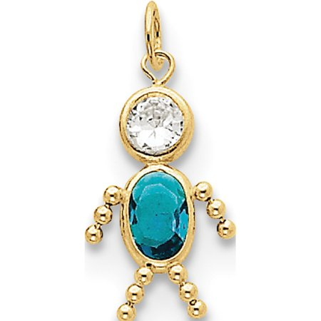 10k Yellow Gold December Boy Birthstone Pendant / Charm