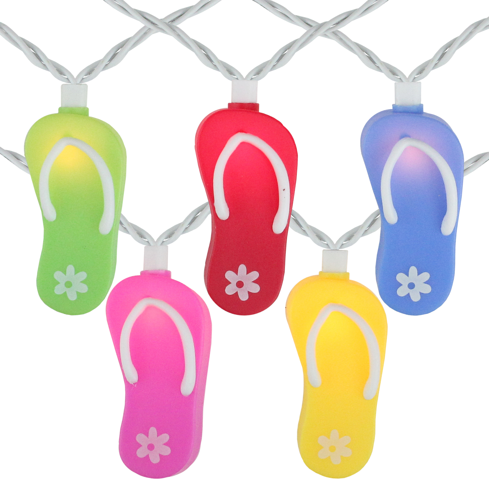 Set of 10 Beach Party Summer Garden Patio Colorful Flip Flop Christmas Lights - 7.25 ft White Wire
