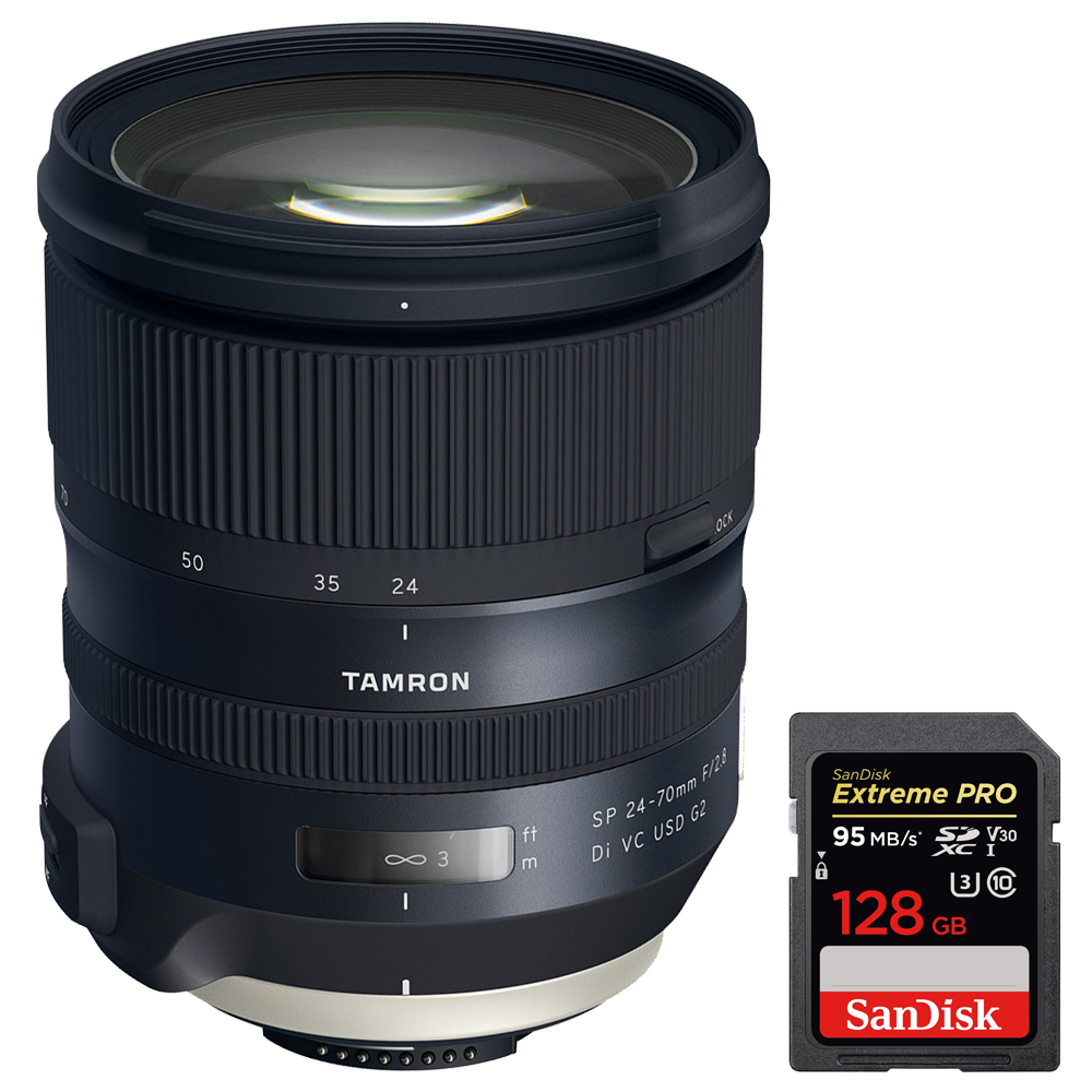 Tamron (AFA032N-700) SP 24-70mm f 2.8 Di VC USD G2 Lens for Nikon Mount + Sandisk Extreme PRO SDXC 128GB UHS-1... by Tamron