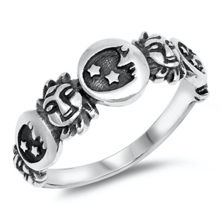 Heart Moon Stars Silver Band (Oxidized Moon Star Sun Mythological Ring .925 Sterling Silver Band Size 8)