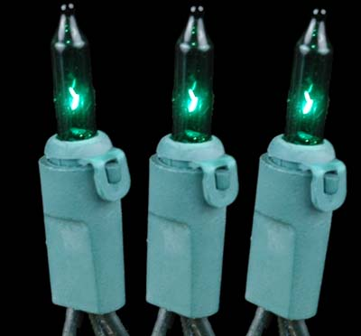 Novelty Lights 100 Light Green Christmas Mini Light Set, Green Wire, 50' Long
