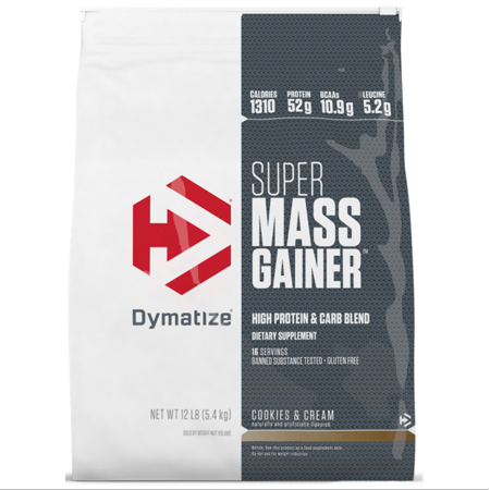 Dymatize Super Mass Gainer, High Protein & Carb Blend, Cookies & Cream, 52g Protein/Serving, 12