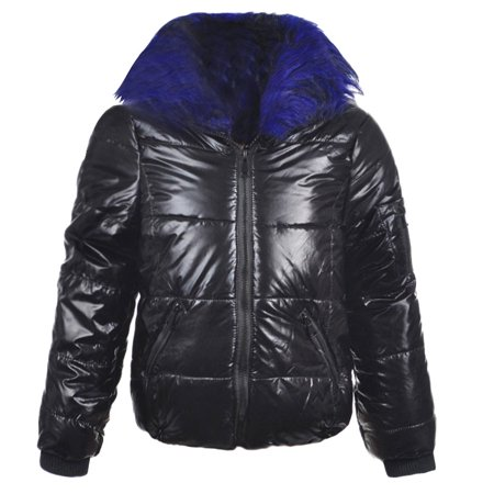 Urban Republic Girls Black Blue Faux Fur Detachable Collar Puffer Coat - Faux Fur Coat Girls