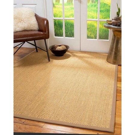 Natural Area Rugs  100%, Natural Fiber Handmade Rustic, Gold Sisal Rug, Wheat Border - 2