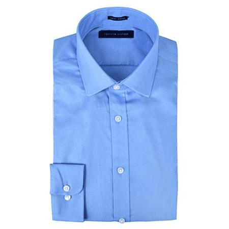 Tommy Hilfiger Men's Dress Shirt Stretch Fabric Slim Fit Solid Spread Collar