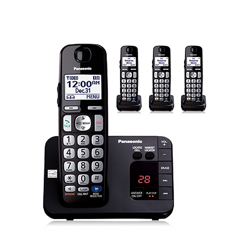Panasonic KX-TGE233B DECT 6.0 Expandable Cordless Answering System 3 Handsets