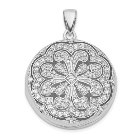 Mireval Sterling Silver CZ Circle with Flower Design Locket Pendant (approximately 29 x 23 mm)