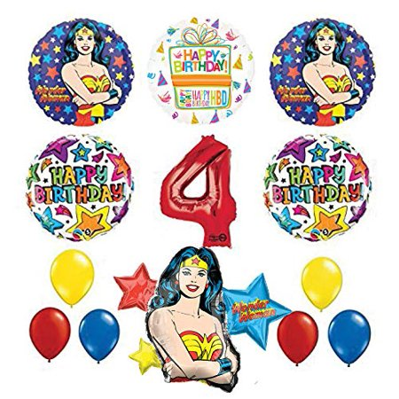 Mayflower Products Wonder Woman 4th Birthday Party Supplies and Balloon Decorations](Wonder Woman Birthday Party Supplies)