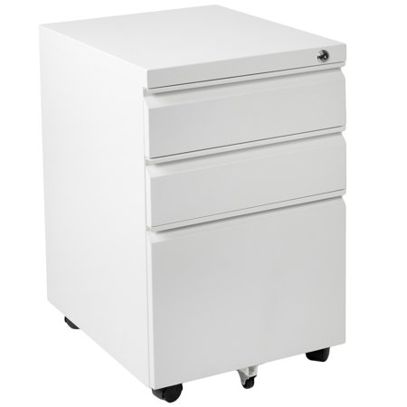 VIVO White Steel 3 Drawer Mobile Office File Cabinet with Lock | Rolling Pedestal Storage Cabinet on Wheels (3 Drawer Pedestal)