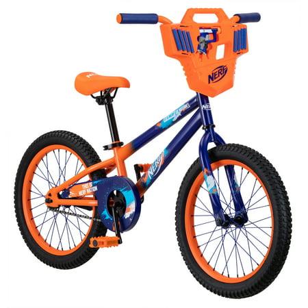 Hasbro's Nerf Kid's Bike with Shield, Jolt Blaster, and 8 darts; 18 inch wheel, single speed, ages 5 - 7, blue, orange