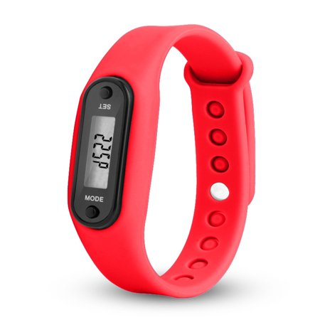 - Stylish Colorful Run Step Walk Watch Waterproof Pedometer Bracelet Replacement WristBand with Buckle for Kids Women Men Color:Red