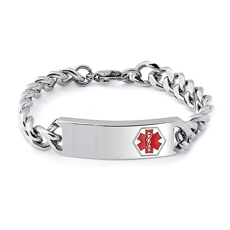 Stainless Steel Medical ID Identification Bracelet
