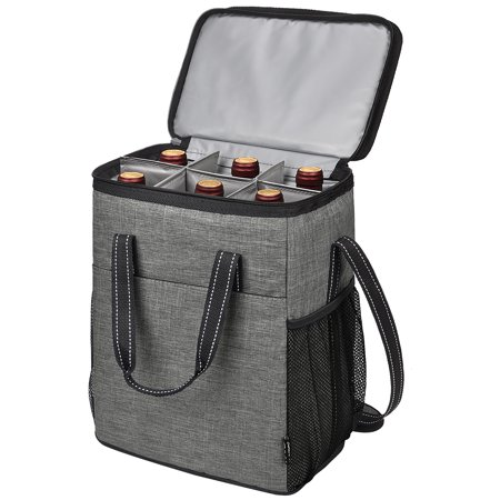 Kato 6 Bottle Wine Carrier, Insulated Leakproof Padded Wine Cooler Carrying Tote Bag for Travel, Camping and Picnic, Perfect Wine Lover