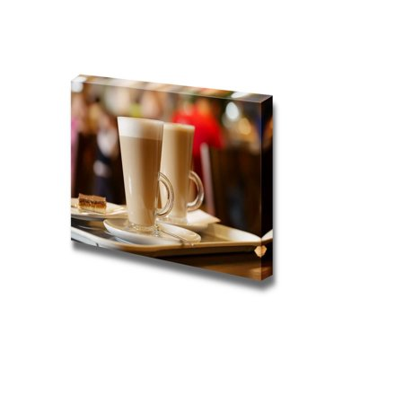 Closeup of Latte Coffee in Two Tall Glasses Ideal for Home and Restaurant Decor - Canvas Art Wall Decor - 32