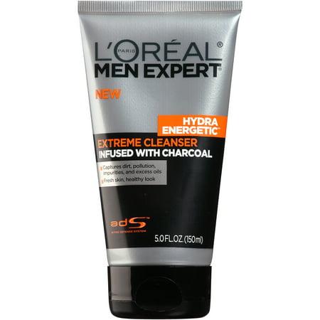 Men Liquid Face Wash - L'Oreal Paris Men Expert Hydra Energetic Charcoal Cream Cleanser, 5 fl. oz.