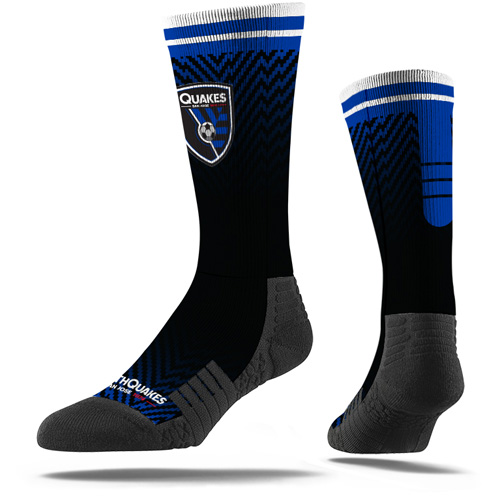 San Jose Earthquakes Premium Sublimated Crew Socks - Black - M/L