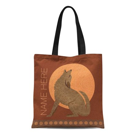 ASHLEIGH Canvas Tote Bag Brown Wolf Z Rustic Coyote Southwest Faux Tan Decorator Reusable Handbag Shoulder Grocery Shopping Bags Brown All Purpose Totes
