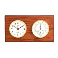 Bey-Berk International Brass Clock, Thermo./Hygro. on Oak T.P.